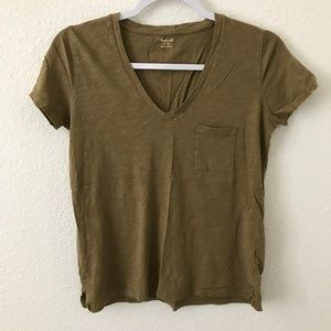 Madewell Olive Green V-neck Shirt (0195)